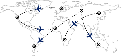Flugstrecken und -verbindungen weltweit